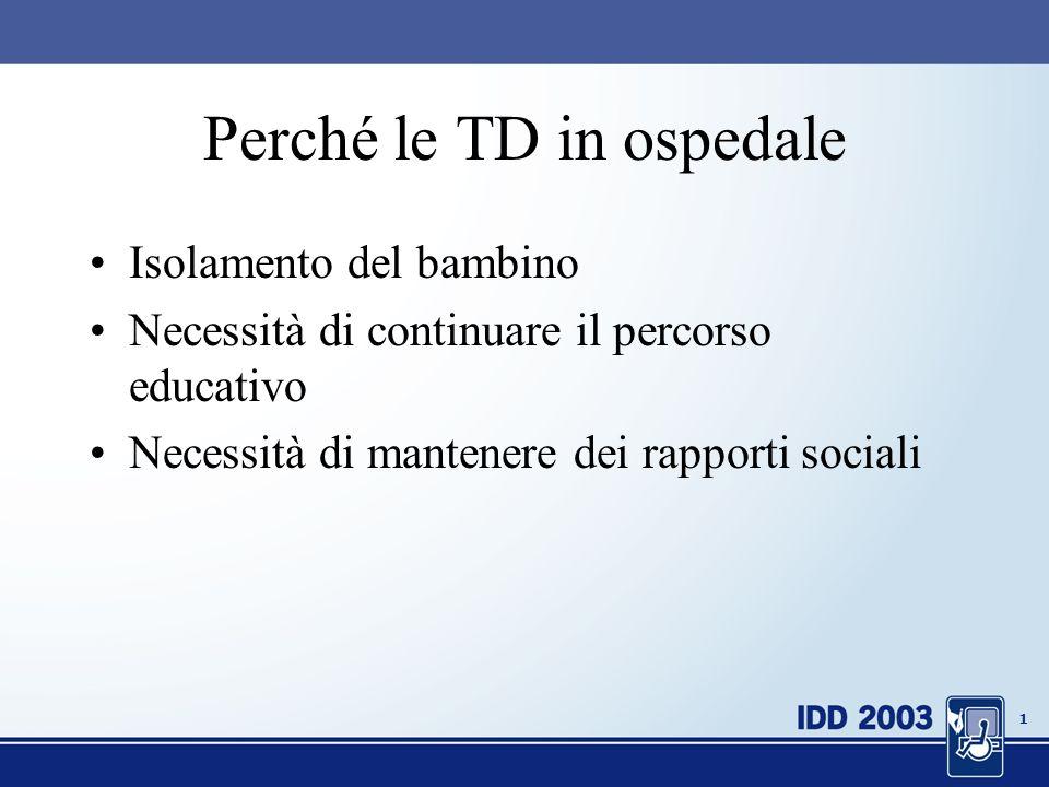 0 Ricerca e sperimentazione sulluso di tecnologie didattiche nella Scuola in Ospedale Vincenza Benigno CNR - Istituto Tecnologie Didattiche