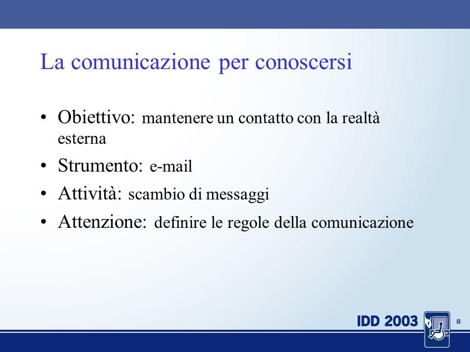 8 La comunicazione per conoscersi Obiettivo: mantenere un contatto con la realtà esterna Strumento: e-mail Attività: scambio di messaggi Attenzione: definire le regole della comunicazione