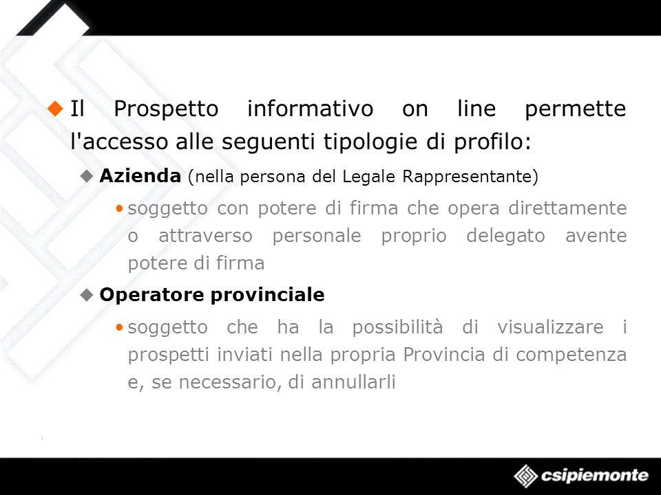 Il Prospetto informativo on line permette l'accesso alle seguenti tipologie di profilo: Azienda (nella persona del Legale Rappresentante) soggetto con