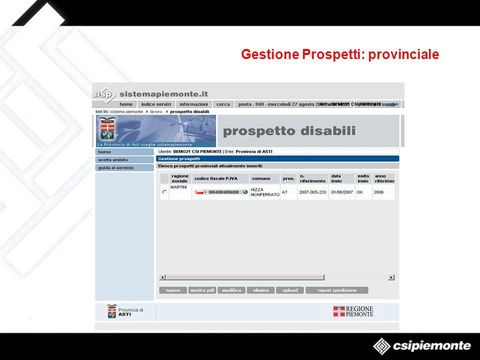 Gestione Prospetti: provinciale