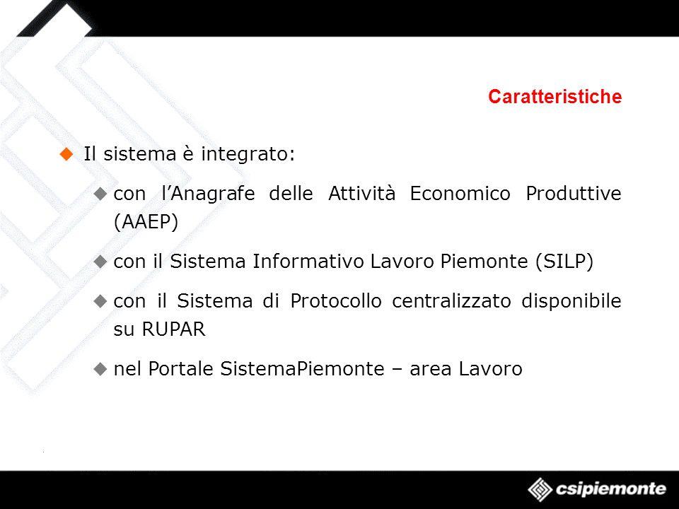 Caratteristiche Il sistema è integrato: con lAnagrafe delle Attività Economico Produttive (AAEP) con il Sistema Informativo Lavoro Piemonte (SILP) con il Sistema di Protocollo centralizzato disponibile su RUPAR nel Portale SistemaPiemonte – area Lavoro