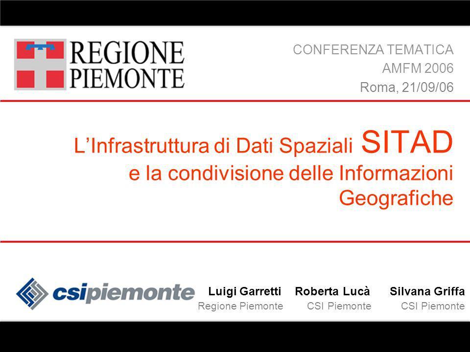 LInfrastruttura di Dati Spaziali SITAD e la condivisione delle Informazioni Geografiche CONFERENZA TEMATICA AMFM 2006 Roma, 21/09/06 Luigi Garretti Ro