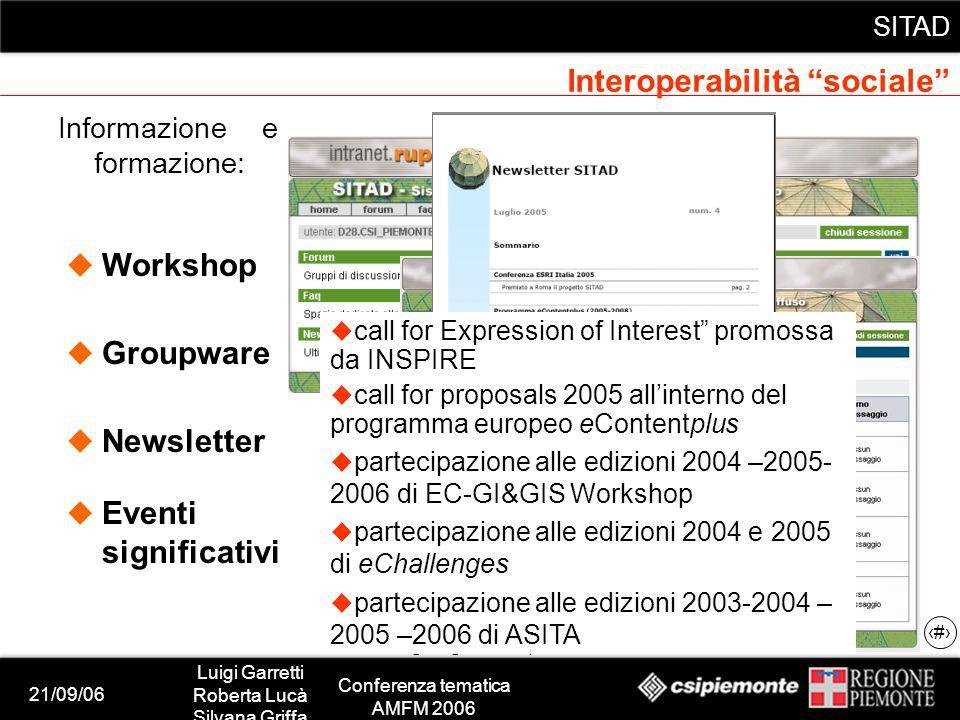 21/09/06 Luigi Garretti Roberta Lucà Silvana Griffa Conferenza tematica AMFM 2006 SITAD 10 Informazione e formazione: Workshop Groupware Newsletter Wo