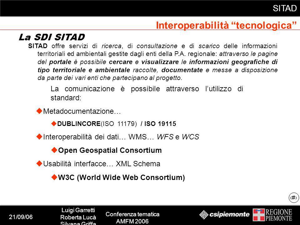 21/09/06 Luigi Garretti Roberta Lucà Silvana Griffa Conferenza tematica AMFM 2006 SITAD 11 SITAD offre servizi di ricerca, di consultazione e di scarico delle informazioni territoriali ed ambientali gestite dagli enti della P.A.