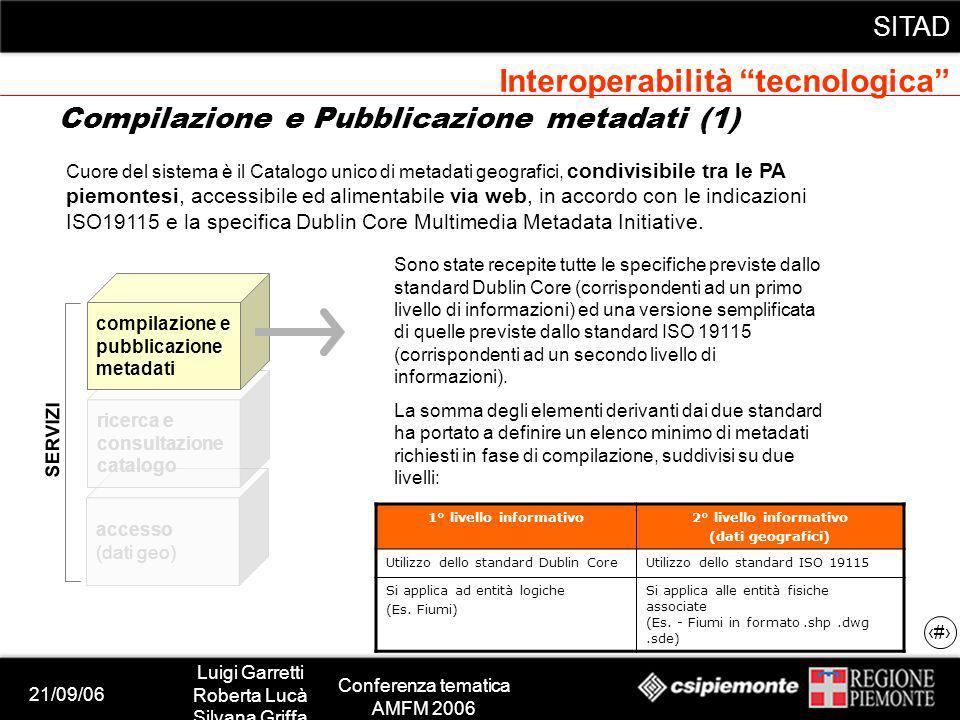 21/09/06 Luigi Garretti Roberta Lucà Silvana Griffa Conferenza tematica AMFM 2006 SITAD 13 accesso (dati geo) ricerca e consultazione catalogo compila