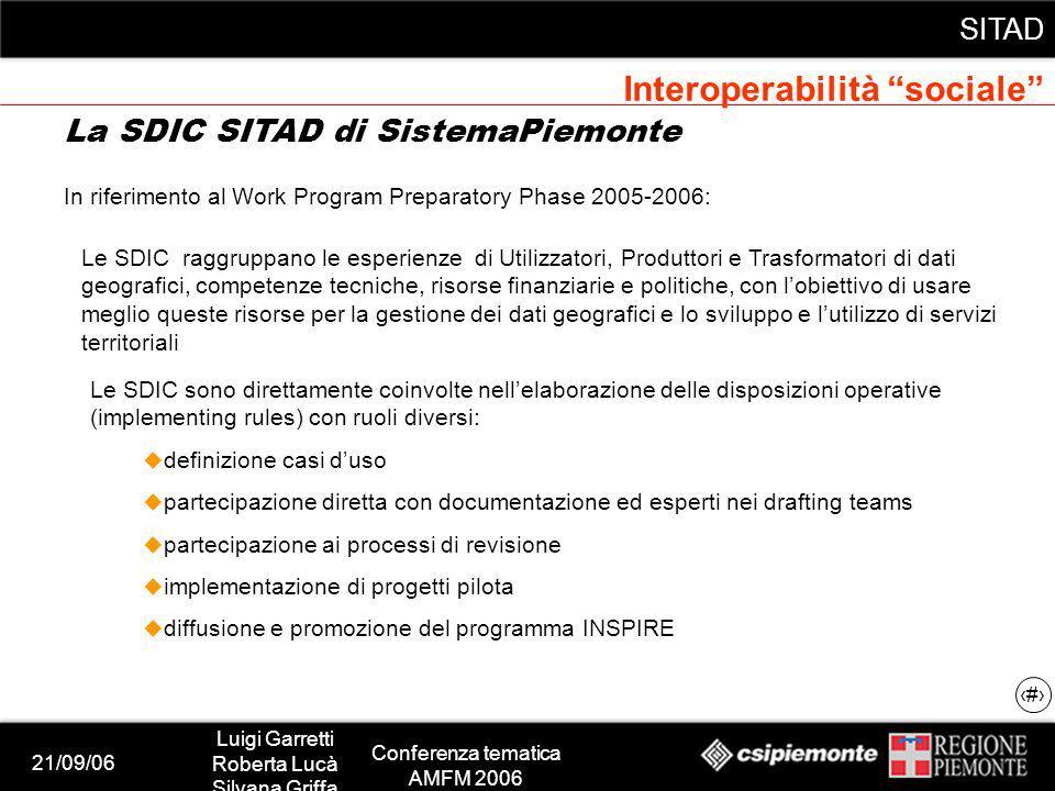21/09/06 Luigi Garretti Roberta Lucà Silvana Griffa Conferenza tematica AMFM 2006 SITAD 8 In riferimento al Work Program Preparatory Phase 2005-2006:
