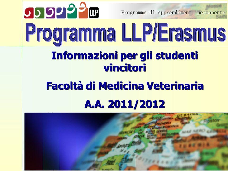 Informazioni per gli studenti vincitori Facoltà di Medicina Veterinaria A.A. 2011/2012