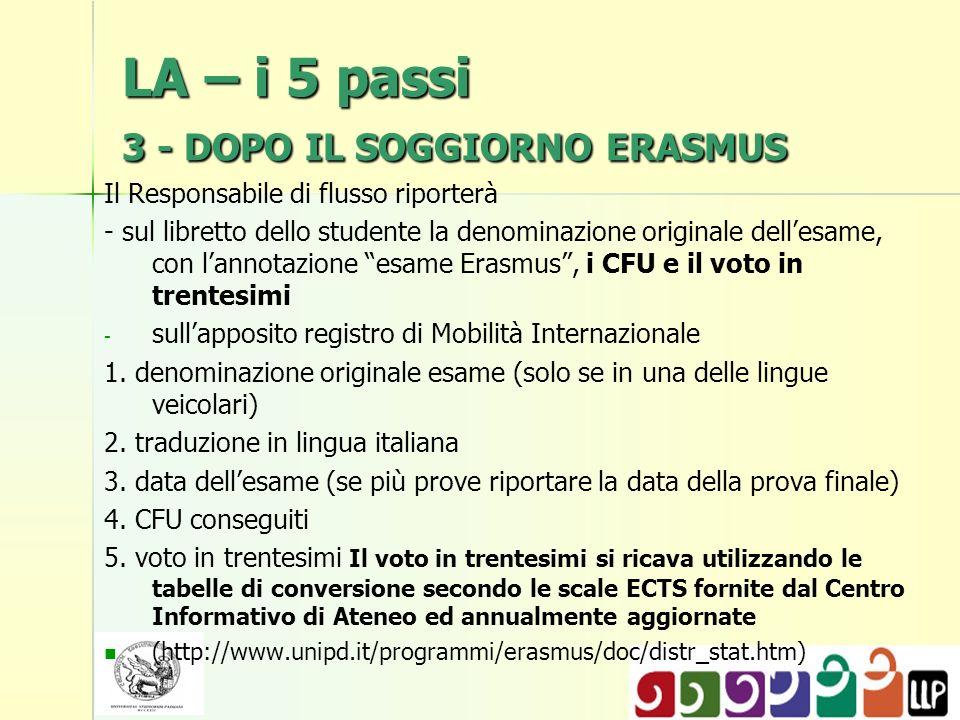 LA – i 5 passi 3 - DOPO IL SOGGIORNO ERASMUS Il Responsabile di flusso riporterà - sul libretto dello studente la denominazione originale dellesame, con lannotazione esame Erasmus, i CFU e il voto in trentesimi - - sullapposito registro di Mobilità Internazionale 1.