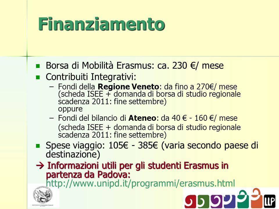 Finanziamento Borsa di Mobilità Erasmus: ca.