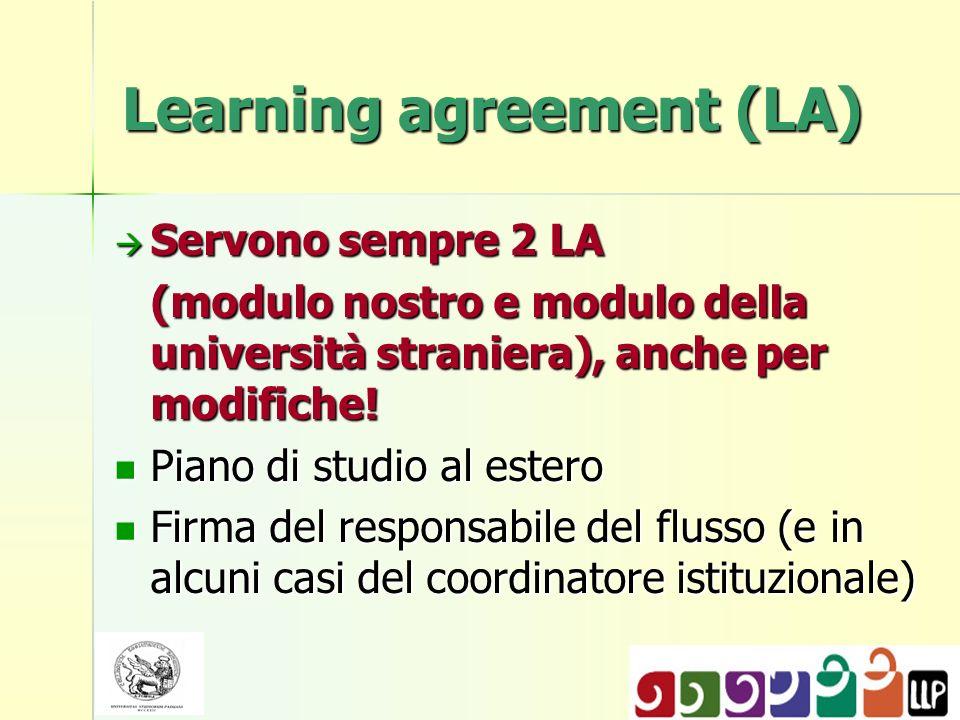 Learning agreement (LA) Servono sempre 2 LA Servono sempre 2 LA (modulo nostro e modulo della università straniera), anche per modifiche.