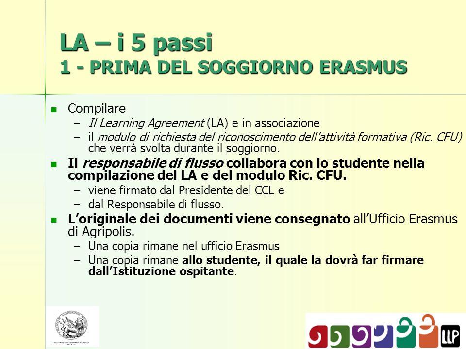 LA – i 5 passi 1 - PRIMA DEL SOGGIORNO ERASMUS Compilare – –Il Learning Agreement (LA) e in associazione – –il modulo di richiesta del riconoscimento dellattività formativa (Ric.