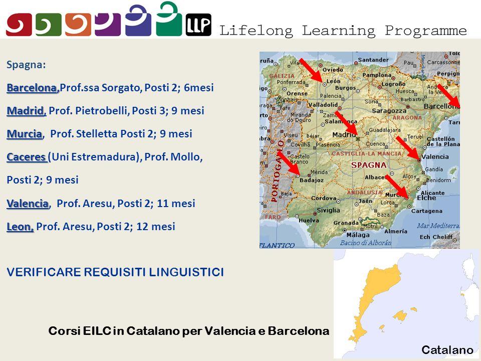 Elche Spagna: Barcelona, Barcelona,Prof.ssa Sorgato, Posti 2; 6mesi Madrid Madrid, Prof.