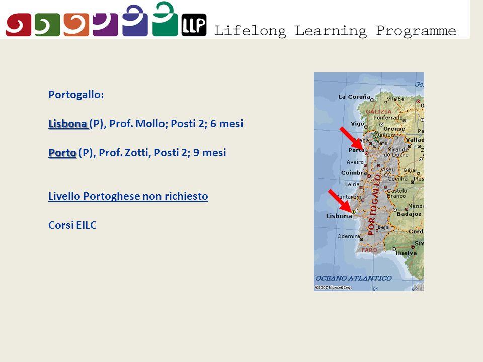 Portogallo: Lisbona Lisbona (P), Prof. Mollo; Posti 2; 6 mesi Porto Porto (P), Prof.