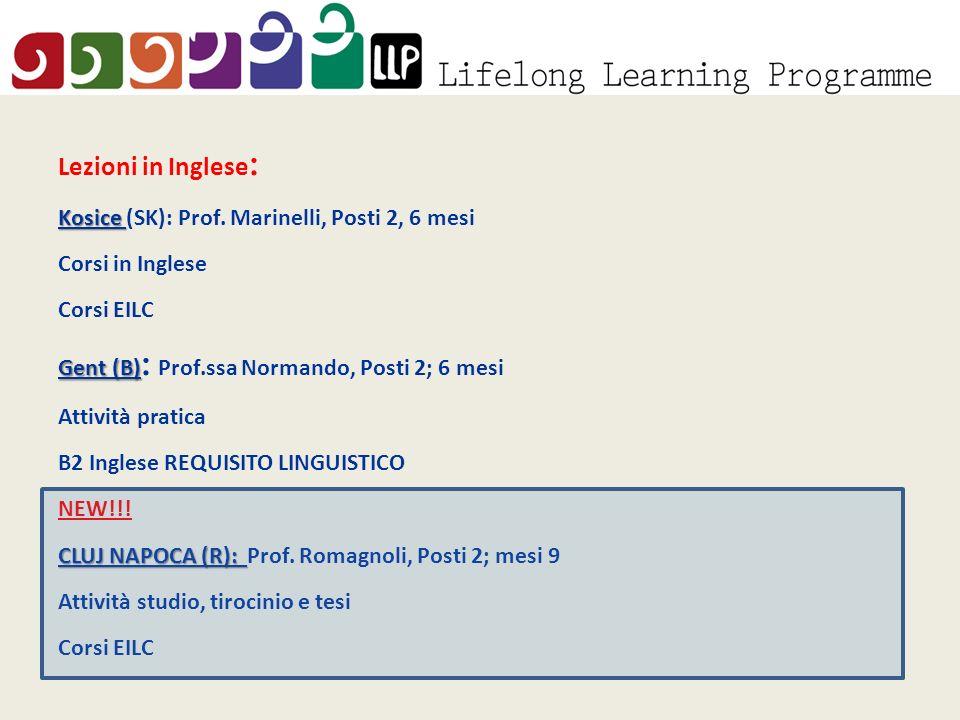 Lezioni in Inglese : Kosice Kosice (SK): Prof.