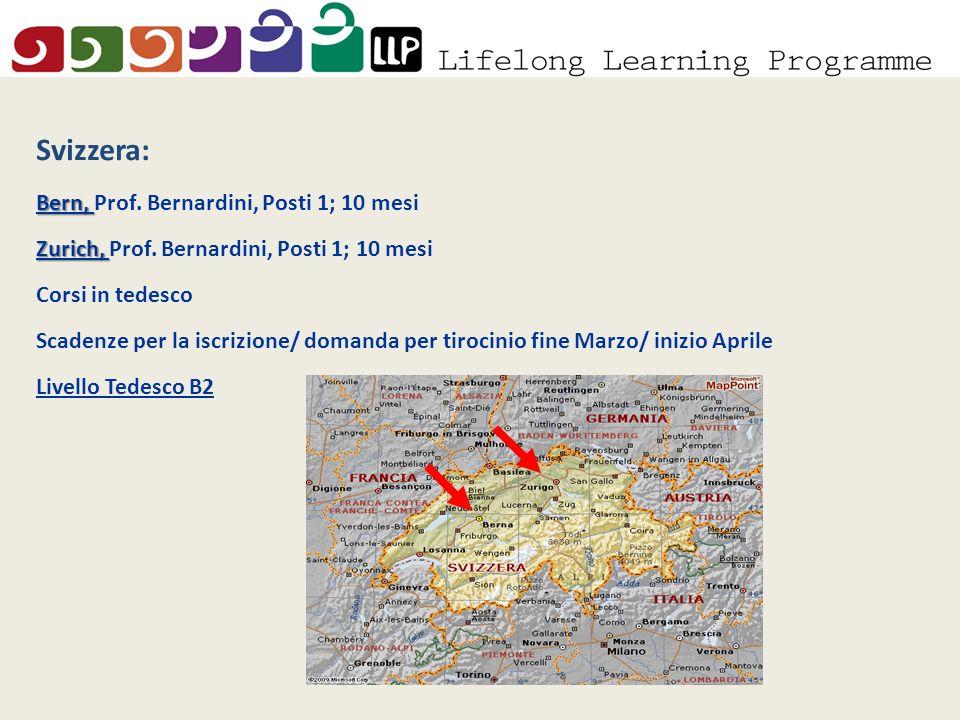 Svizzera: Bern, Bern, Prof. Bernardini, Posti 1; 10 mesi Zurich, Zurich, Prof.