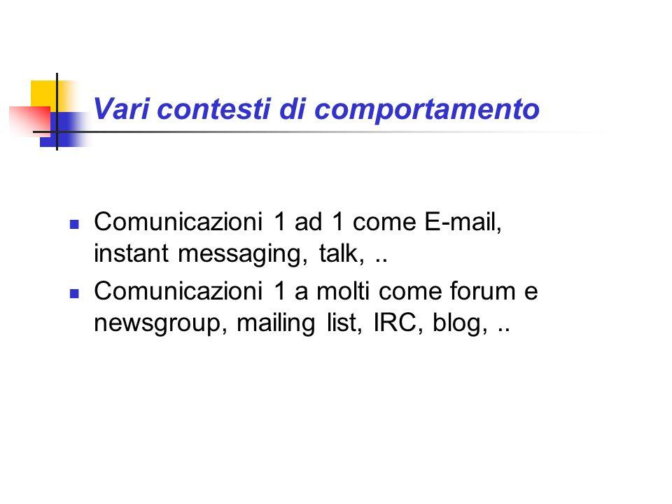 Vari contesti di comportamento Comunicazioni 1 ad 1 come E-mail, instant messaging, talk,.. Comunicazioni 1 a molti come forum e newsgroup, mailing li