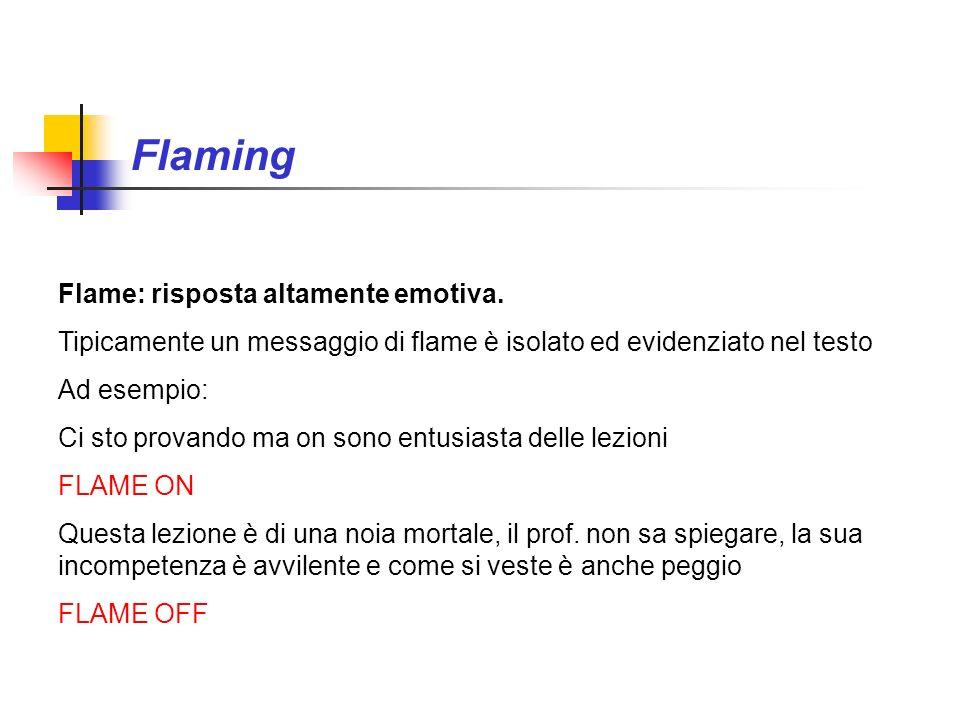 Flaming Flame: risposta altamente emotiva. Tipicamente un messaggio di flame è isolato ed evidenziato nel testo Ad esempio: Ci sto provando ma on sono