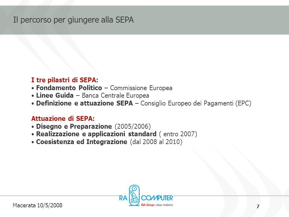 7 Macerata 10/5/2008 Il percorso per giungere alla SEPA I tre pilastri di SEPA: Fondamento Politico – Commissione Europea Linee Guida – Banca Centrale Europea Definizione e attuazione SEPA – Consiglio Europeo dei Pagamenti (EPC) Attuazione di SEPA: Disegno e Preparazione (2005/2006) Realizzazione e applicazioni standard ( entro 2007) Coesistenza ed Integrazione (dal 2008 al 2010)
