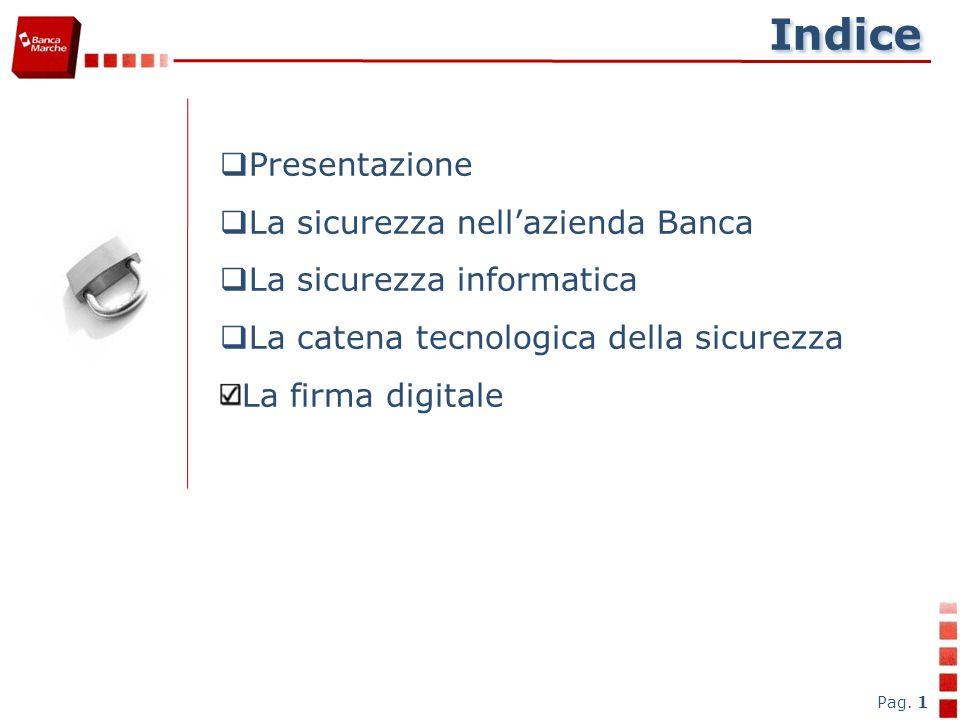 Indice Pag. 1 Presentazione La sicurezza nellazienda Banca La sicurezza informatica La catena tecnologica della sicurezza La firma digitale