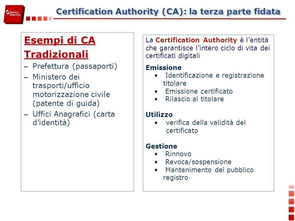Certification Authority (CA): la terza parte fidata Esempi di CA Tradizionali – Prefettura (passaporti) – Ministero dei trasporti/ufficio motorizzazione civile (patente di guida) – Uffici Anagrafici (carta didentità) La Certification Authority è lentità che garantisce lintero ciclo di vita dei certificati digitali Emissione Identificazione e registrazione titolare Emissione certificato Rilascio al titolare Utilizzo verifica della validità del certificato Gestione Rinnovo Revoca/sospensione Mantenimento del pubblico registro