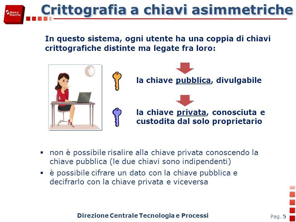 Crittografia a chiavi asimmetriche Direzione Centrale Tecnologia e Processi Pag. 5 In questo sistema, ogni utente ha una coppia di chiavi crittografic