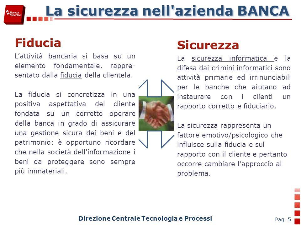 La sicurezza nell azienda BANCA Direzione Centrale Tecnologia e Processi Pag.