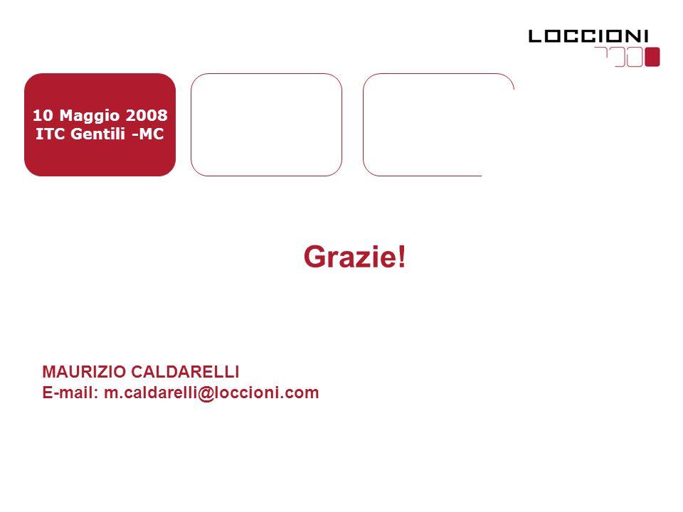10 Maggio 2008 ITC Gentili -MC Grazie! MAURIZIO CALDARELLI E-mail: m.caldarelli@loccioni.com
