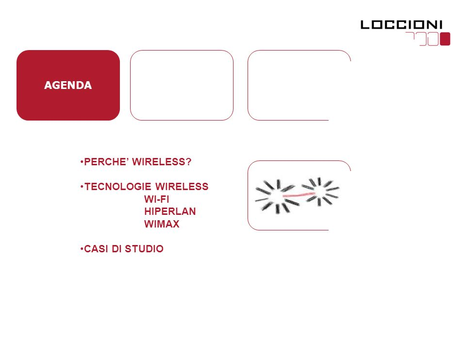 AGENDA PERCHE WIRELESS TECNOLOGIE WIRELESS WI-FI HIPERLAN WIMAX CASI DI STUDIO
