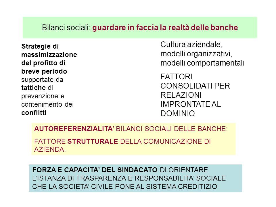 Bilanci sociali: guardare in faccia la realtà delle banche Strategie di massimizzazione del profitto di breve periodo supportate da tattiche di preven