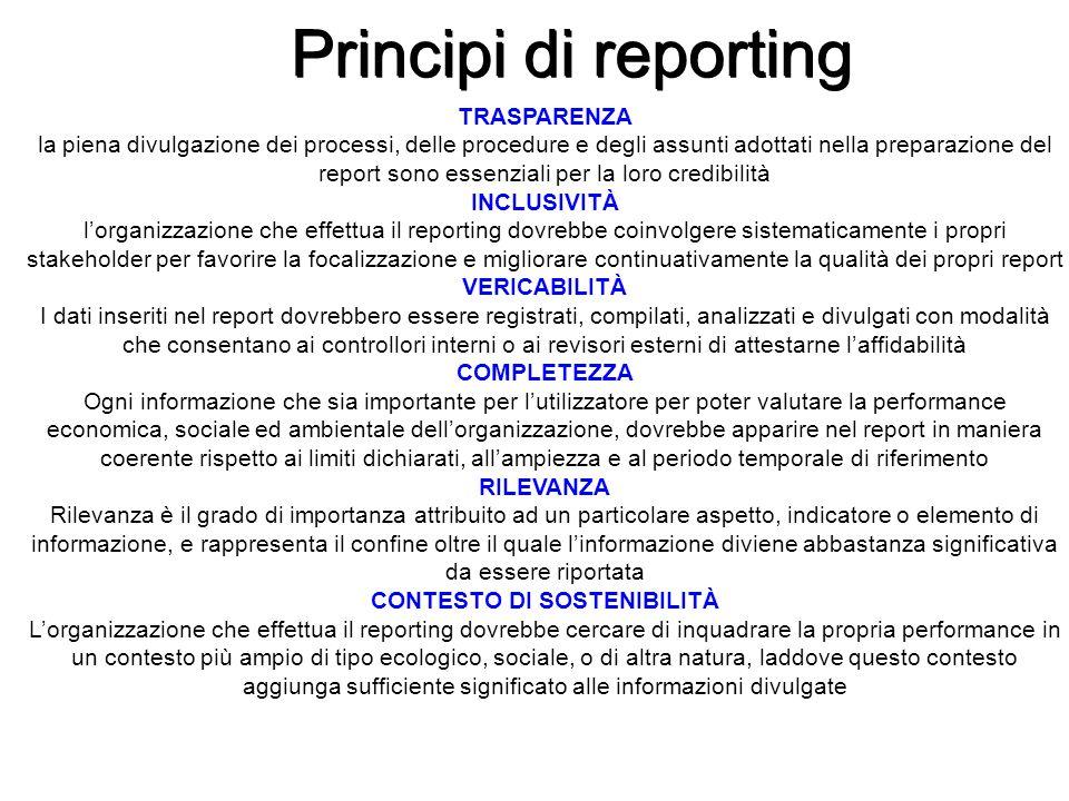 Principi di reporting TRASPARENZA la piena divulgazione dei processi, delle procedure e degli assunti adottati nella preparazione del report sono esse