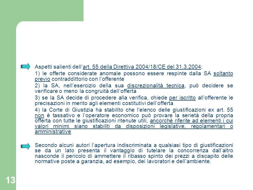 13 Aspetti salienti dellart. 55 della Direttiva 2004/18/CE del 31.3.2004: 1) le offerte considerate anomale possono essere respinte dalla SA soltanto