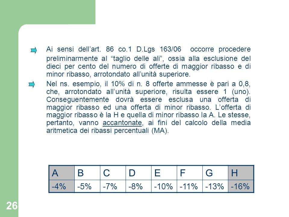 26 Ai sensi dellart. 86 co.1 D.Lgs 163/06 occorre procedere preliminarmente al taglio delle ali, ossia alla esclusione del dieci per cento del numero