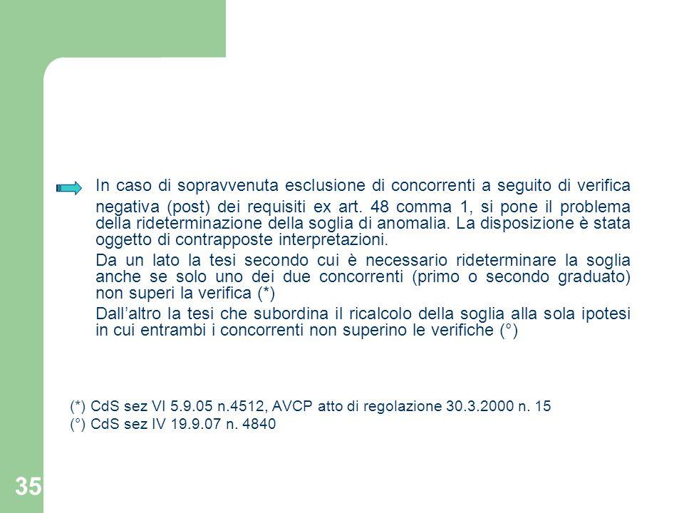 35 In caso di sopravvenuta esclusione di concorrenti a seguito di verifica negativa (post) dei requisiti ex art. 48 comma 1, si pone il problema della