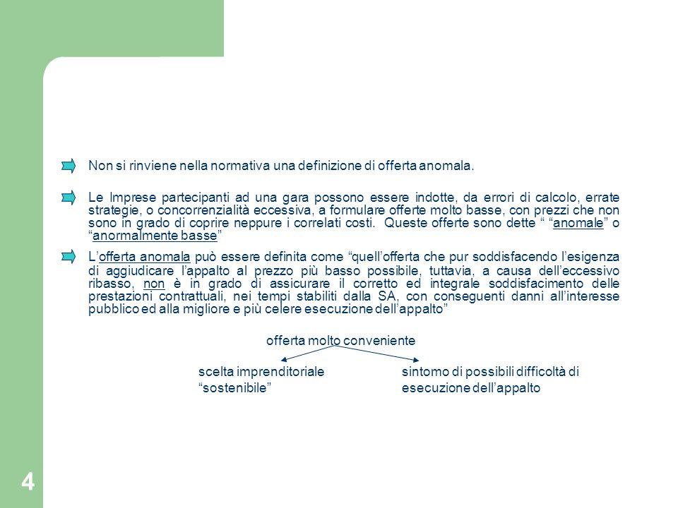 95 Organismo competente per la verifica Il D Lgs 163/06 non individua in modo esplicito lorganismo della SA titolare della competenza a condurre la verifica di anomalia.