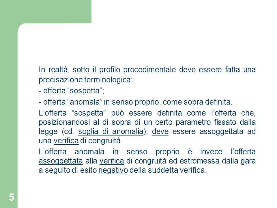 46 TERZA PARTE CRITERI DI VERIFICA DELLE OFFERTE ANORMALMENTE BASSE (art. 87 D Lgs. 163/06)