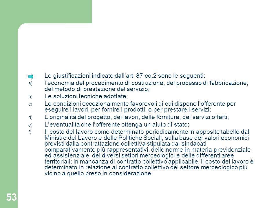 53 Le giustificazioni indicate dallart. 87 co.2 sono le seguenti: a) leconomia del procedimento di costruzione, del processo di fabbricazione, del met