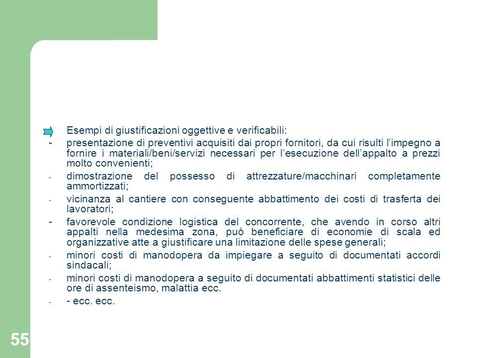 55 Esempi di giustificazioni oggettive e verificabili: - presentazione di preventivi acquisiti dai propri fornitori, da cui risulti limpegno a fornire
