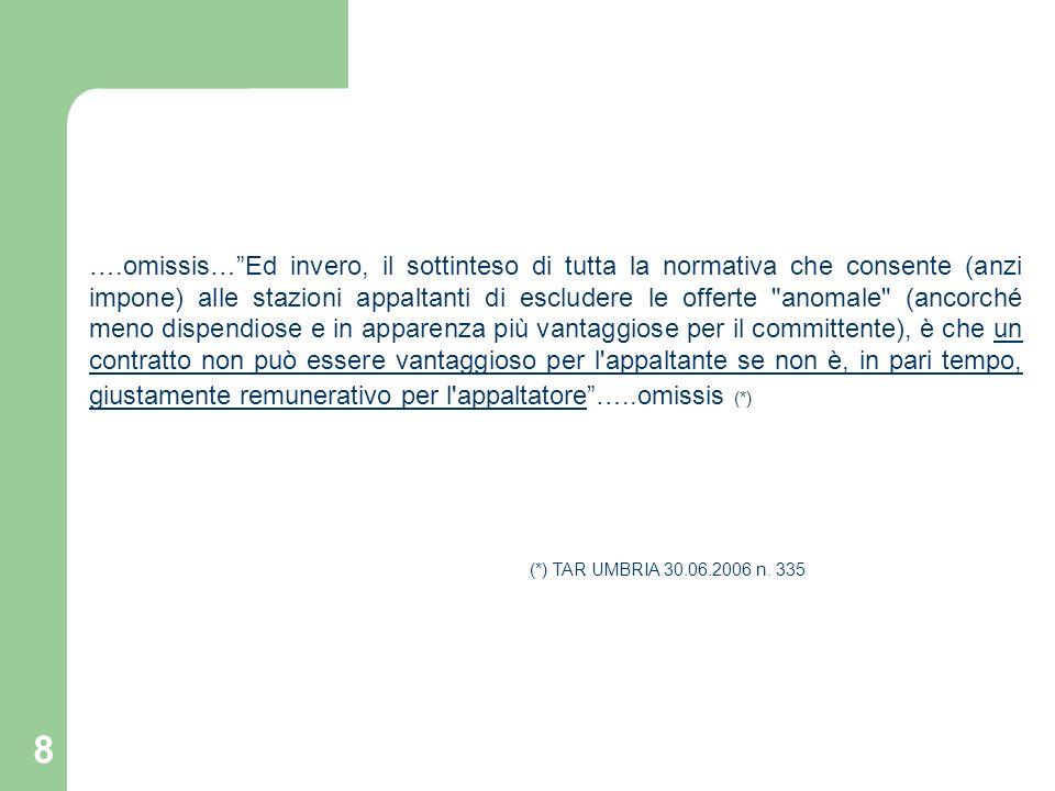 9 OPERATIVITA DELLISTITUTO RISPETTO AL CRITERIO DI AGGIUDICAZIONE ADOTTATO Lart.