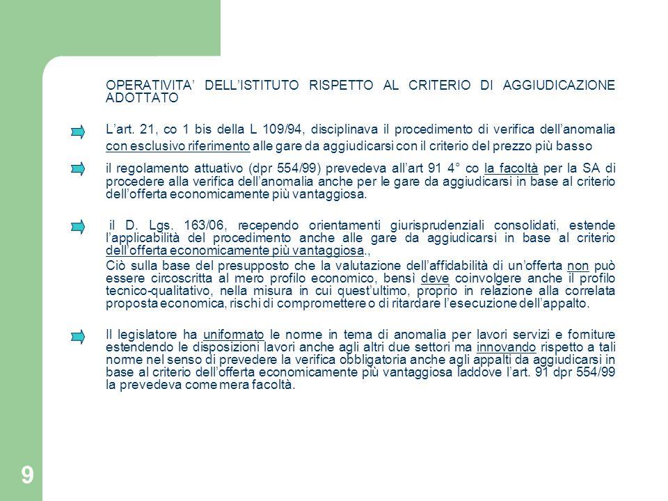 9 OPERATIVITA DELLISTITUTO RISPETTO AL CRITERIO DI AGGIUDICAZIONE ADOTTATO Lart. 21, co 1 bis della L 109/94, disciplinava il procedimento di verifica