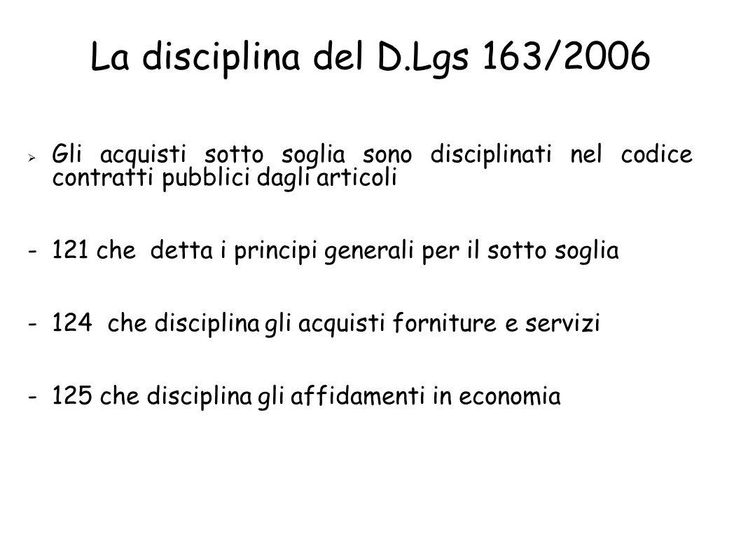 La disciplina del D.Lgs 163/2006 Gli acquisti sotto soglia sono disciplinati nel codice contratti pubblici dagli articoli - 121 che detta i principi generali per il sotto soglia - 124 che disciplina gli acquisti forniture e servizi - 125 che disciplina gli affidamenti in economia