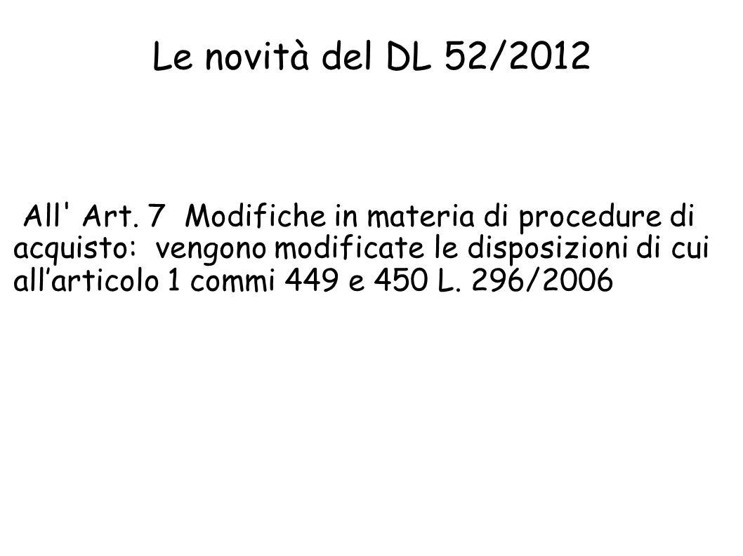 Le novità del DL 52/2012 All Art.