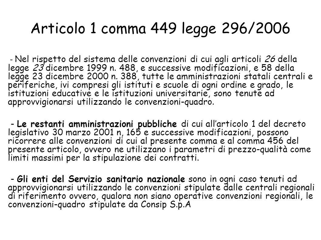 Articolo 1 comma 449 legge 296/2006 - Nel rispetto del sistema delle convenzioni di cui agli articoli 26 della legge 23 dicembre 1999 n.