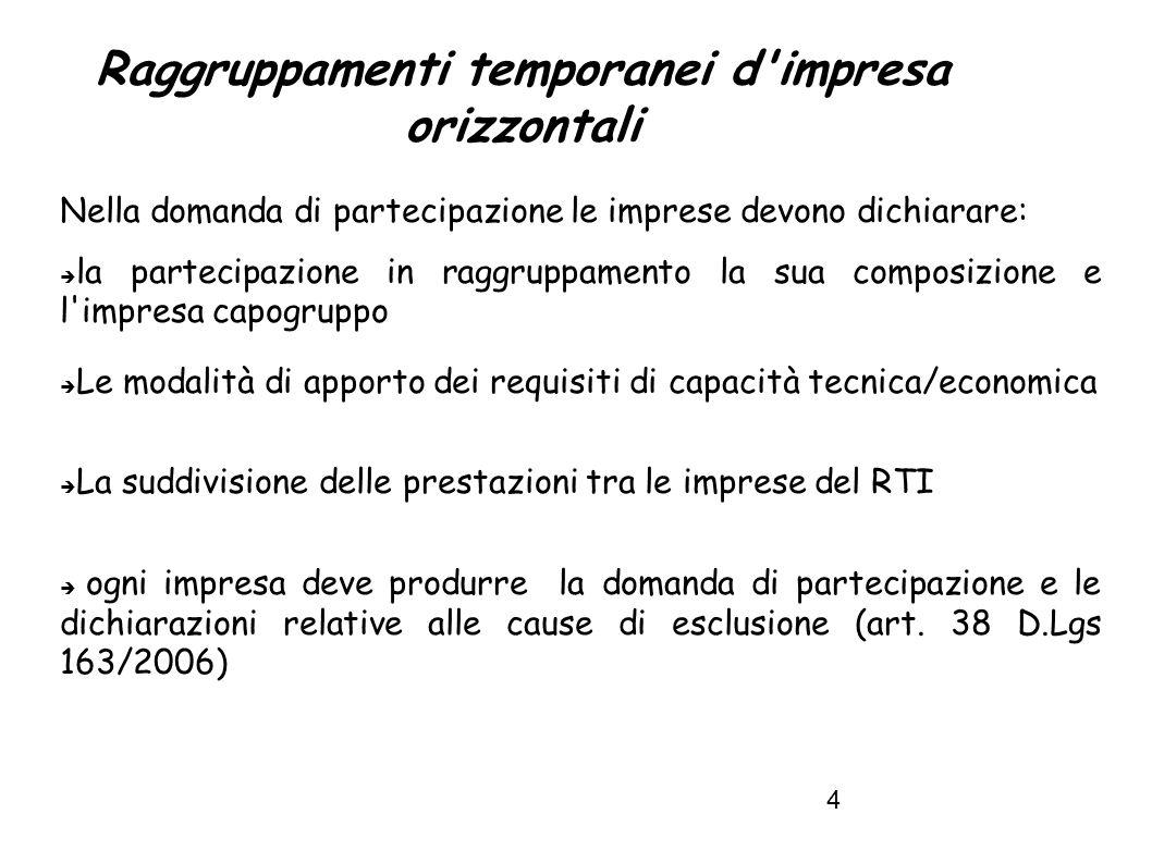 5 Raggruppamenti temporanei d impresa requisiti L art.