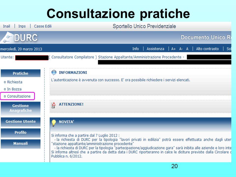 20 Consultazione pratiche