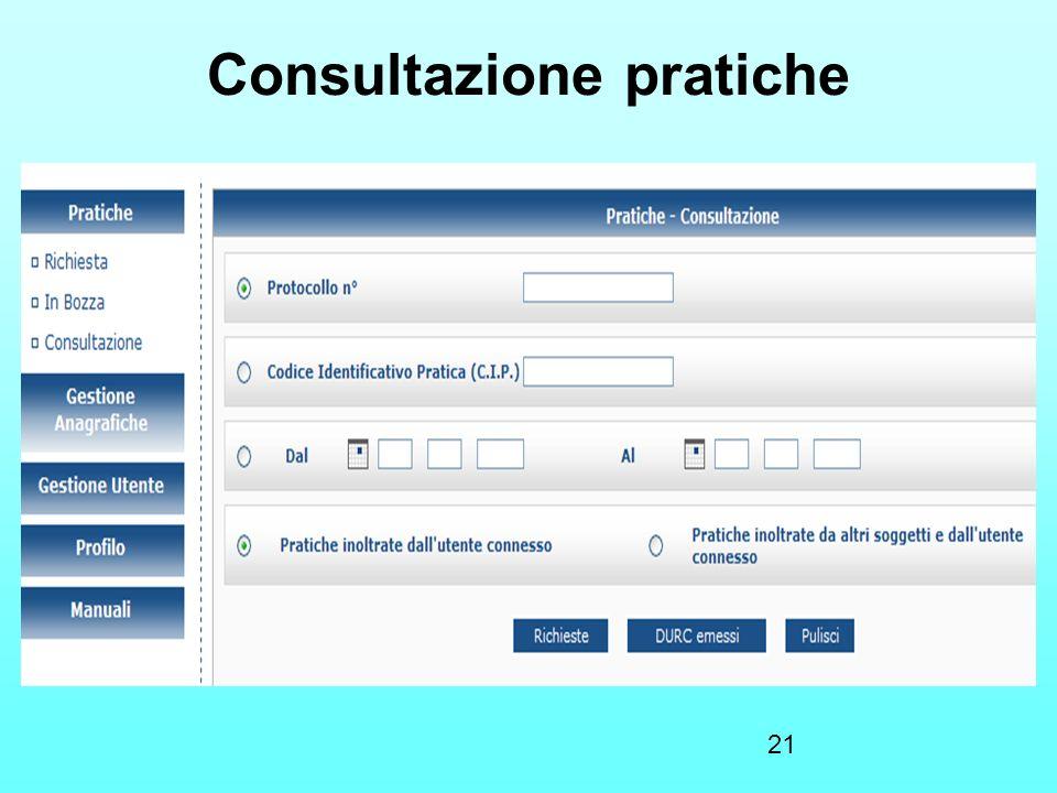 21 Consultazione pratiche