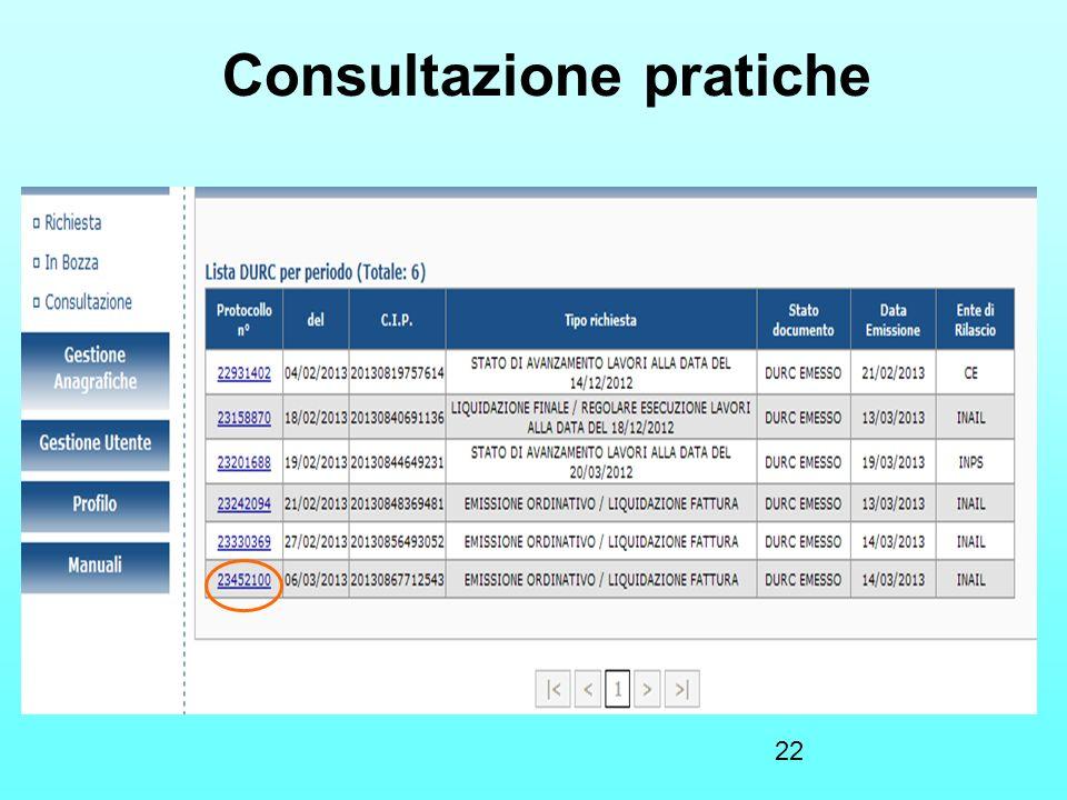 22 Consultazione pratiche