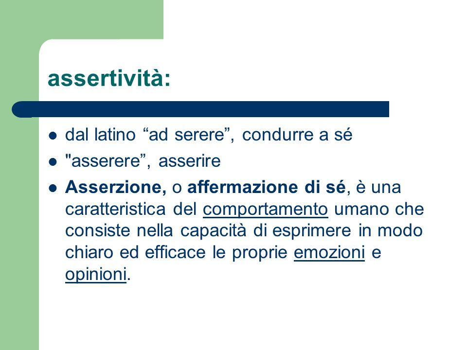 assertività: dal latino ad serere, condurre a sé