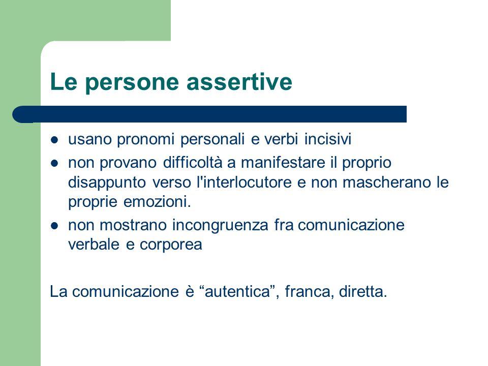 Le persone assertive usano pronomi personali e verbi incisivi non provano difficoltà a manifestare il proprio disappunto verso l'interlocutore e non m
