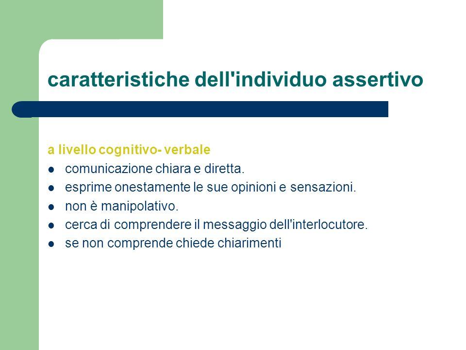 caratteristiche dell'individuo assertivo a livello cognitivo- verbale comunicazione chiara e diretta. esprime onestamente le sue opinioni e sensazioni