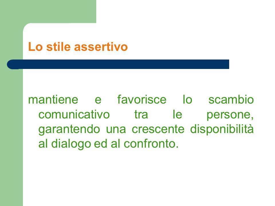 Lo stile assertivo mantiene e favorisce lo scambio comunicativo tra le persone, garantendo una crescente disponibilità al dialogo ed al confronto.